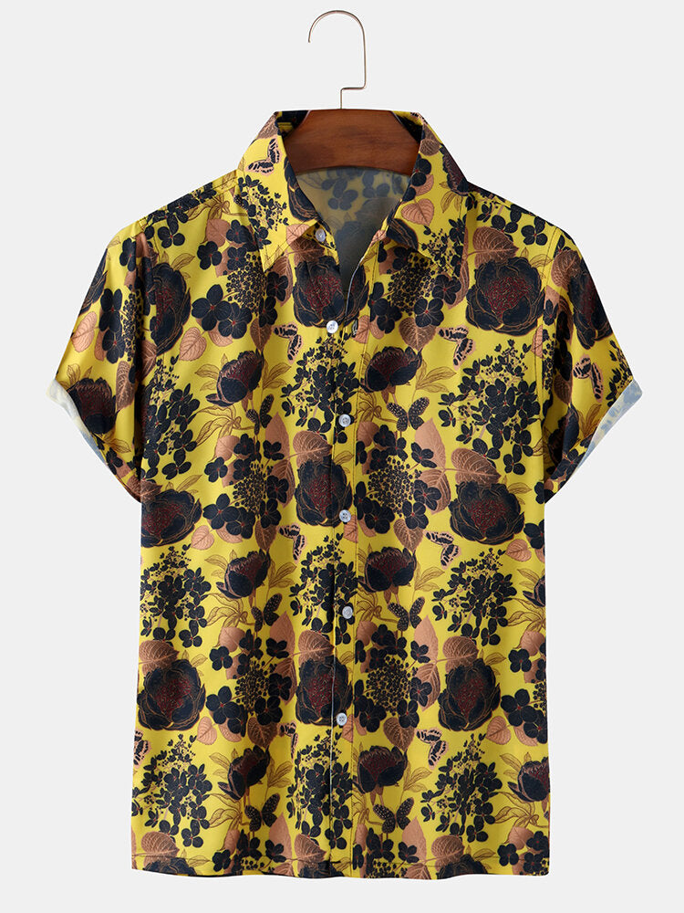 Men Retro Floral Print Breathable Short Sleeve Shirts