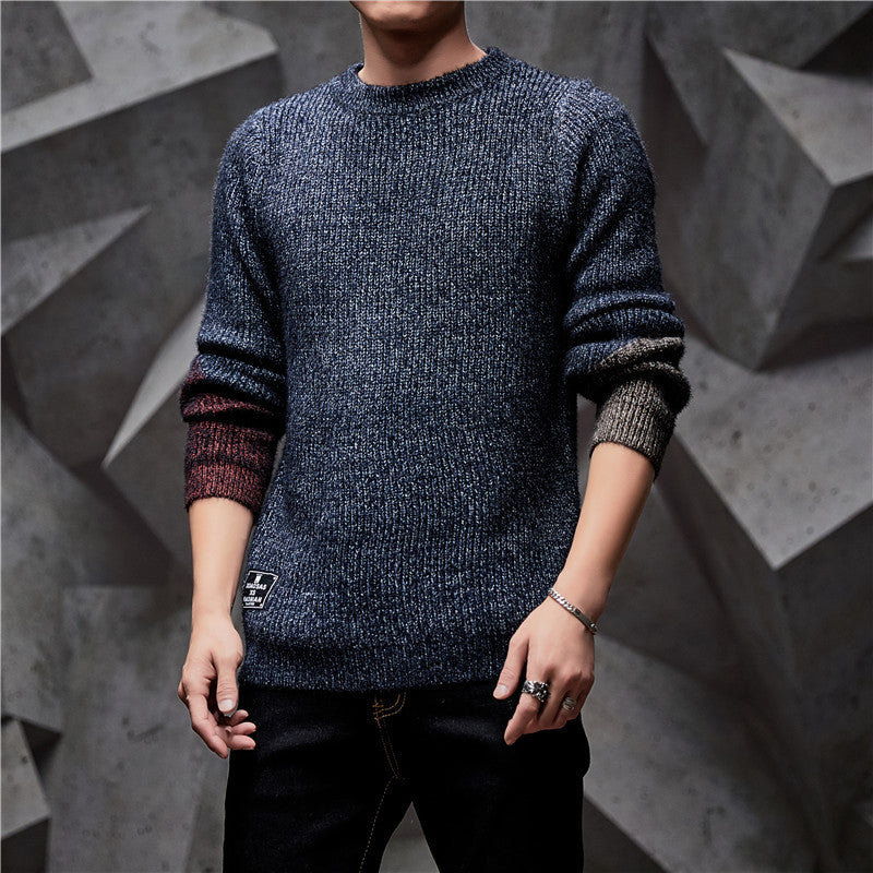 Men's Round Neck Pullover Long Sleeve Sweater