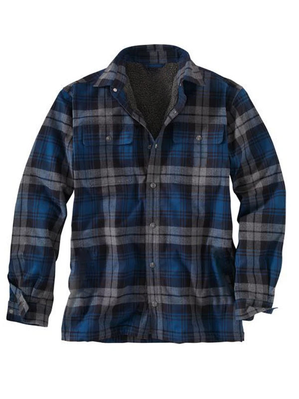 Men Long Sleeve Plaid Winter Shirt