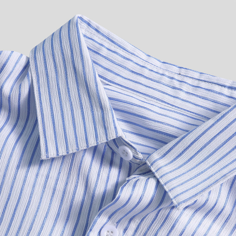 Men Short Sleeves Striped Lapel Simple Shirt