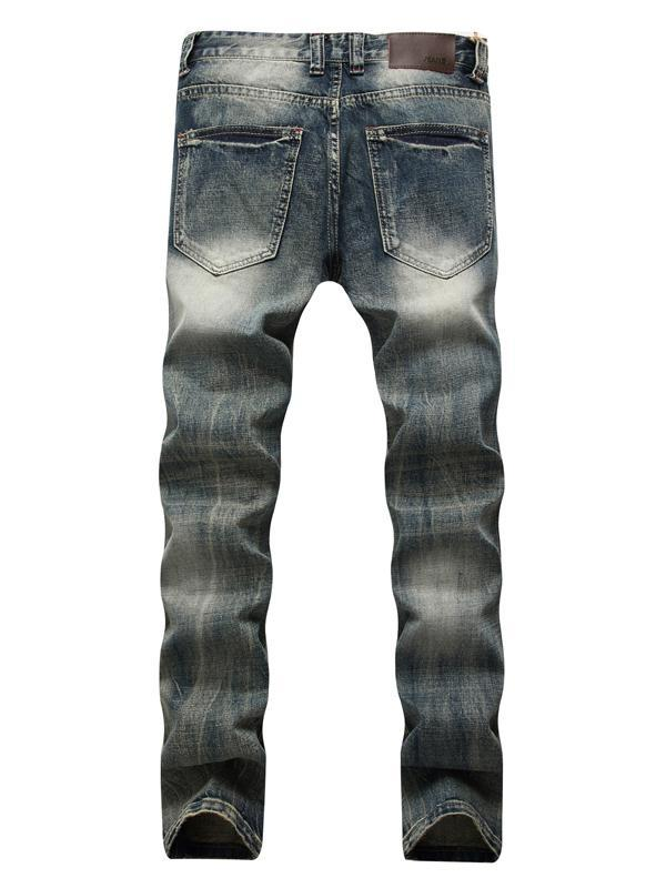 Men Casual Classic Ripped Destroyed Column Jeans