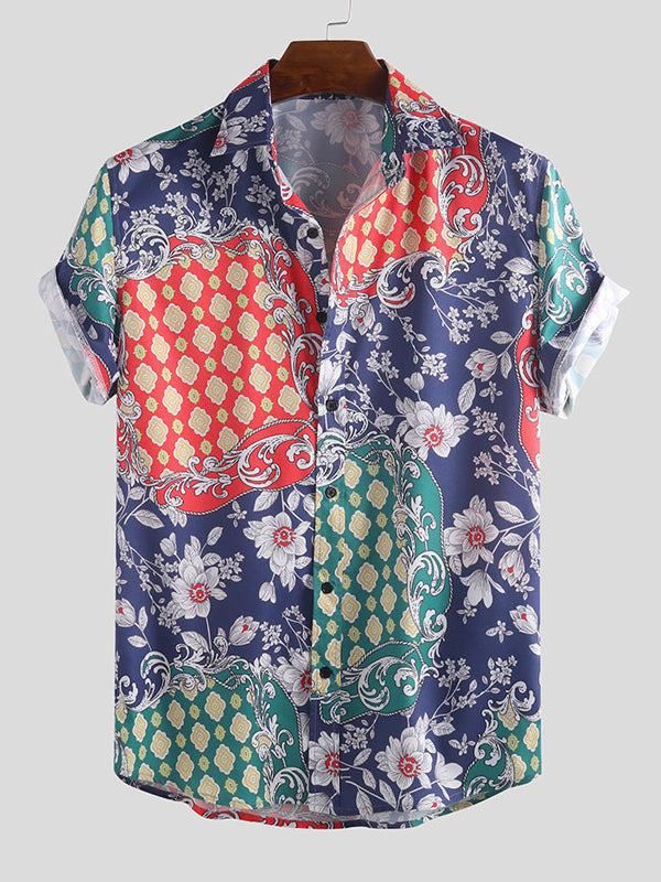 Men Ethnic Printed Short Sleeves Lapel Shirt