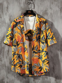 Men Hawaiian Printed Shirt Short Sleeve