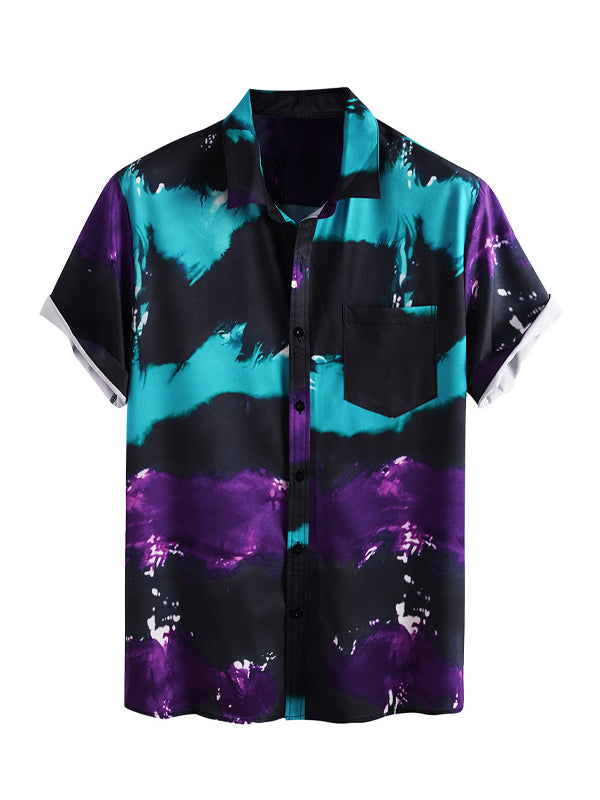 Men's Casual Abstract Printed Short Sleeve Shirt