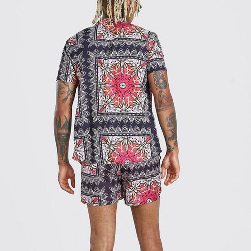 Men Printed Casual Short Sleeve Shorts Suit