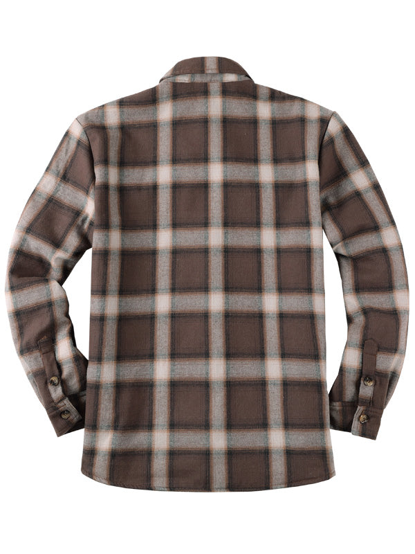 Casual Plaid Winter Long Sleeves Lapel Retro Shirt
