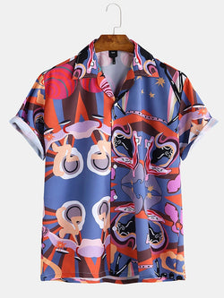 Men Abstract Painting Printed Short Sleeve Shirt