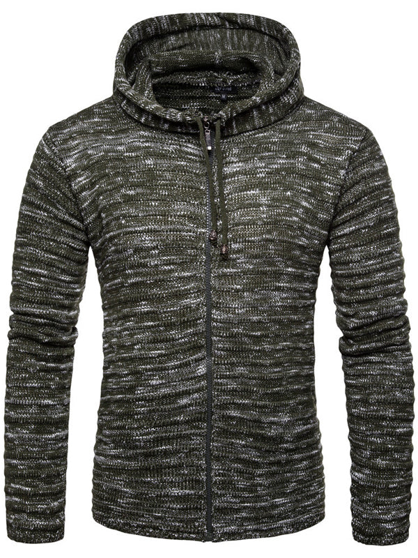 Men Casual Printed Hooded Zipper Sweater