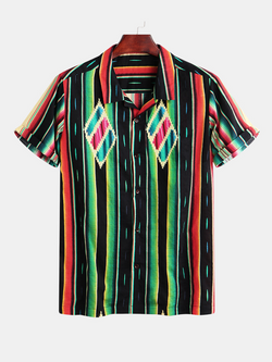 Men Short Sleeves Colorful Striped Shirt