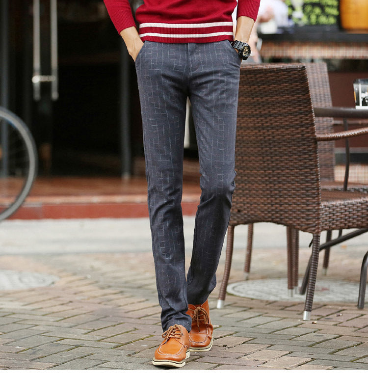 Men Straight Leg Business Plaid Pant