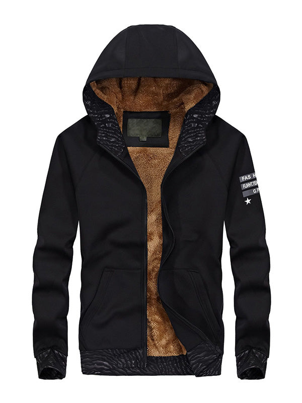 Men Thick Hooded Sports Zipper Jacket