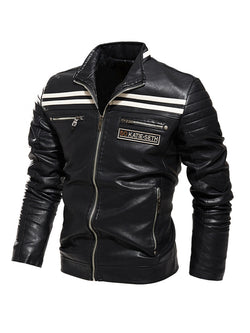 Men Stand Collar Striped Casual Leather Jacket