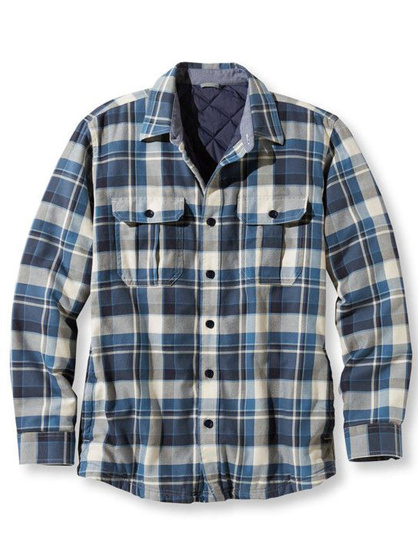 Men's Casual Simple Plaid Long Sleeve Shirt