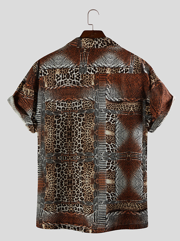 Men Leopard Printed Short Sleeves Shirt