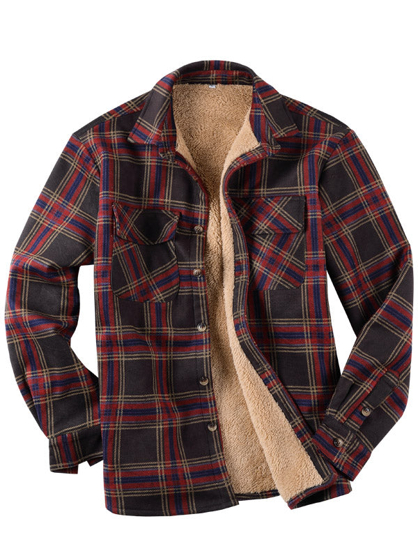 Men Casual Long Sleeves Plaid Lamb Cashmere Retro Shirt