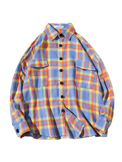 Men Loose Plaid Long Sleeves Shirt