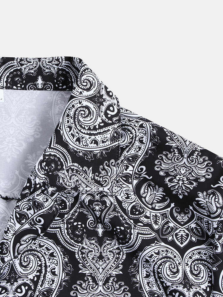 Men Short Sleeves Ethnic Style Lapel Shirt