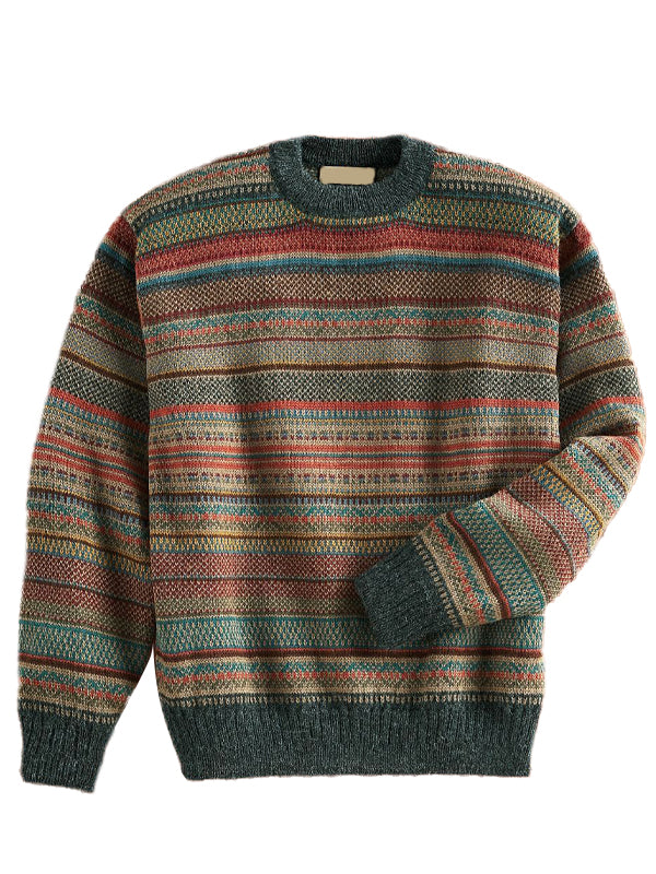 Men Striped Round Neck Casual Sweater