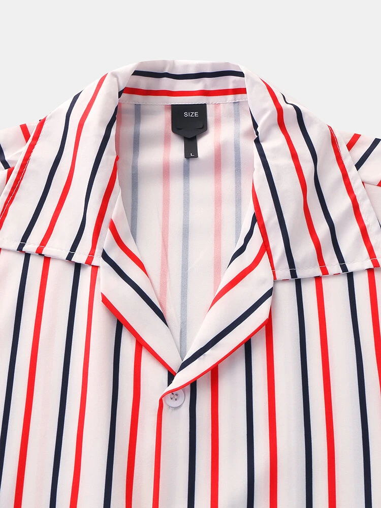 Men Short Sleeves Lapel  Striped Shirt