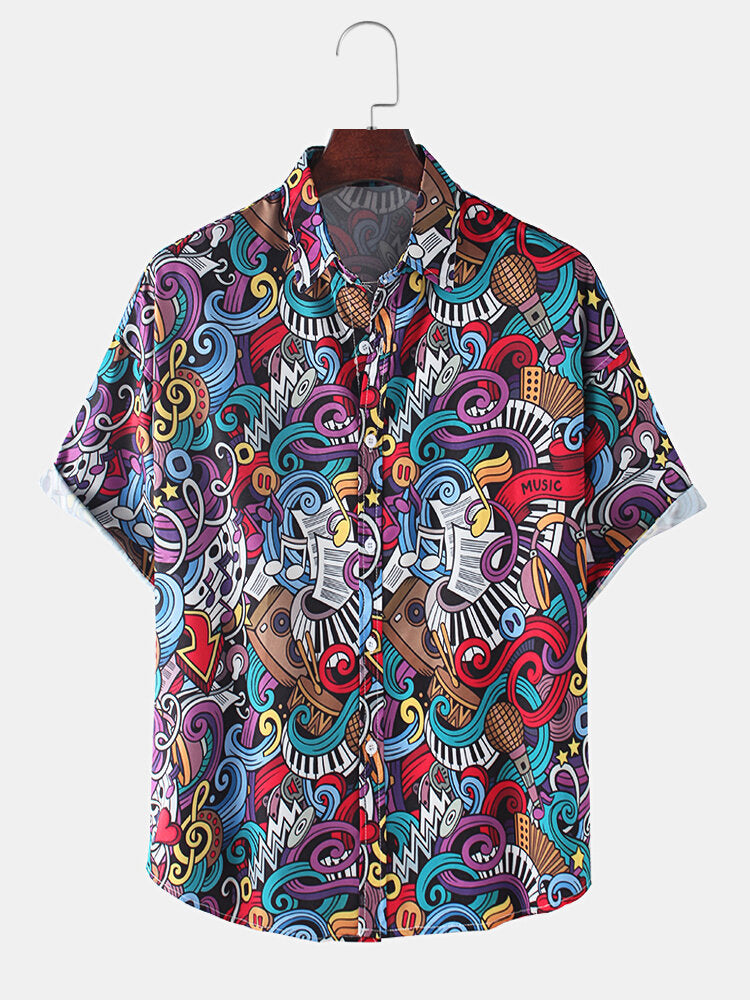 Men Colorful Abstract Print Casual Light Short Sleeve Shirts