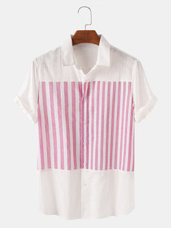 Men Striped Short Sleeve Shirts