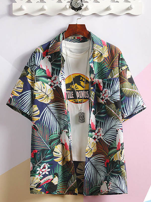 Men Beach Casual Couple Flower Shirt