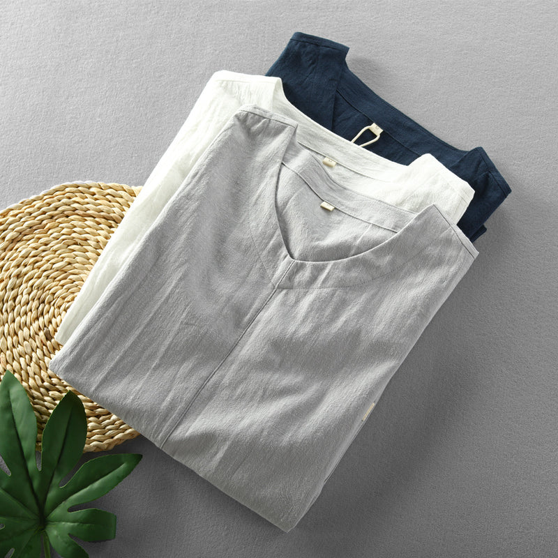 Men Simple Casual V-Neck Short Sleeve