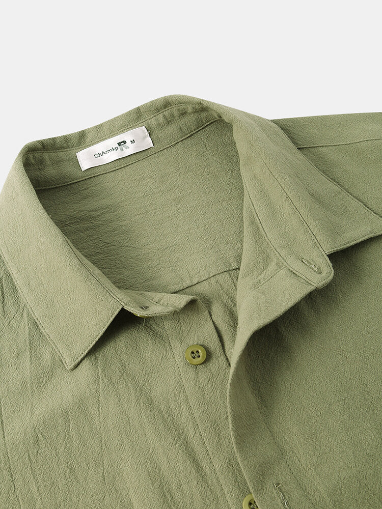Men Solid Color Double Pocket Casual Shirt