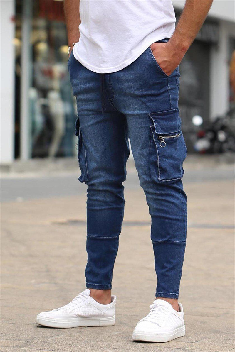 Men Pocket Zippered Stretch Jeans