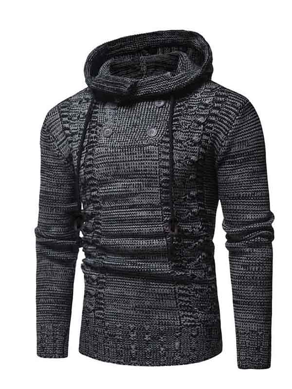 Men Colorblock Double Breasted Hooded Sweater