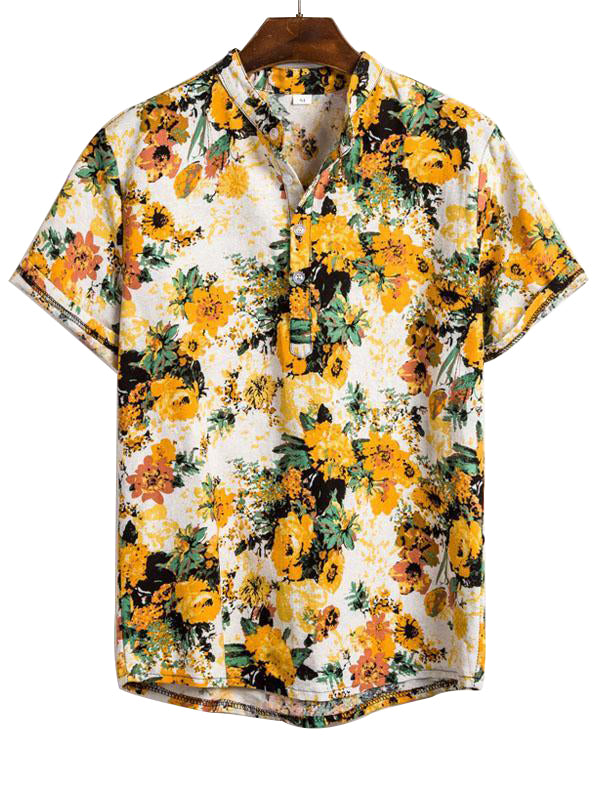 Summer Vacation Style Printed Men Blouse&Shirt