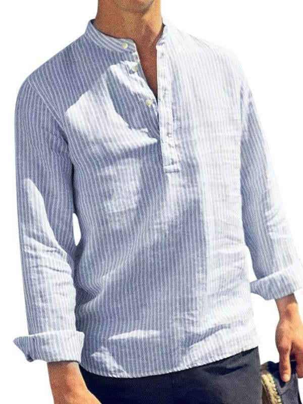 Mens Stand Collar Striped Blouses&Shirts