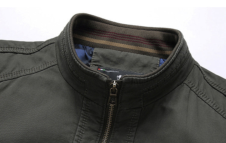 Men Stand Collar Casual Solid Color Jacket