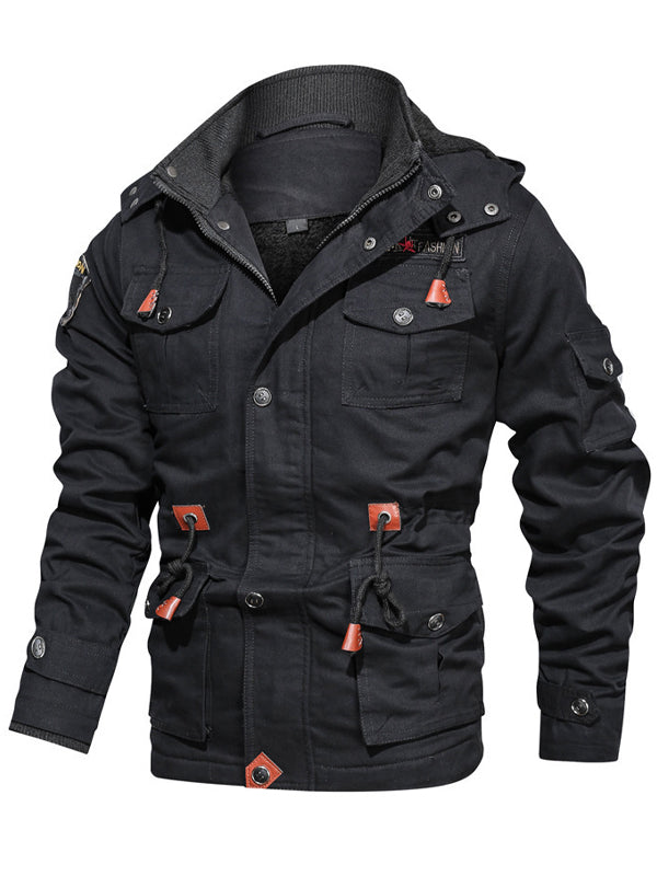 Men Hooded Plus Fleece Casual Jacket