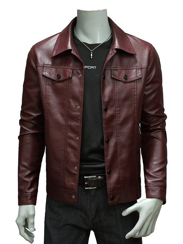 Men Solid Color Lapel Leather Jacket