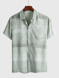 Men's Casual Striped Short Sleeve Shirt