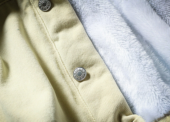 Men Lapel Color Block Plus Fleece Jacket