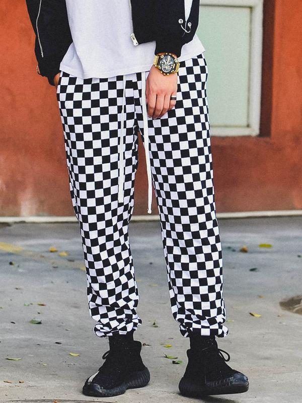 Men Plaid Fashion Straight Leg Pant