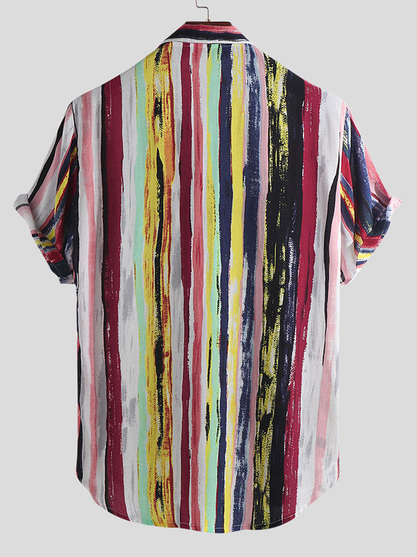 Colorful Strip Painting Short Sleeve Men Blouses&shirts Tops