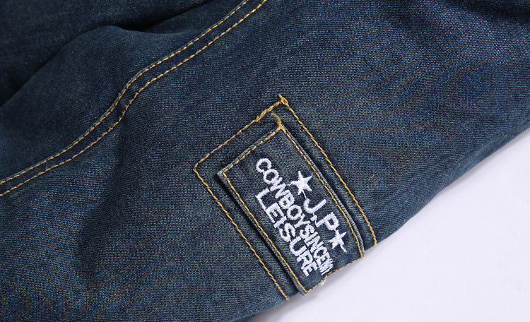 Men Plus Fleece Loose Lapel Denim Jacket