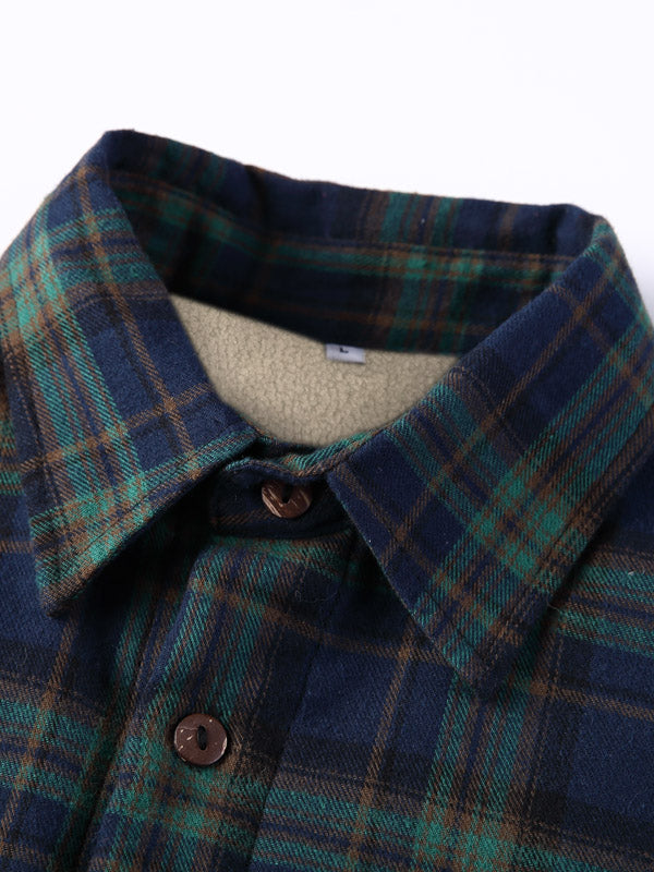 Plaid Lapel Long Sleeves Lamb Cashmere Lined Retro Shirt