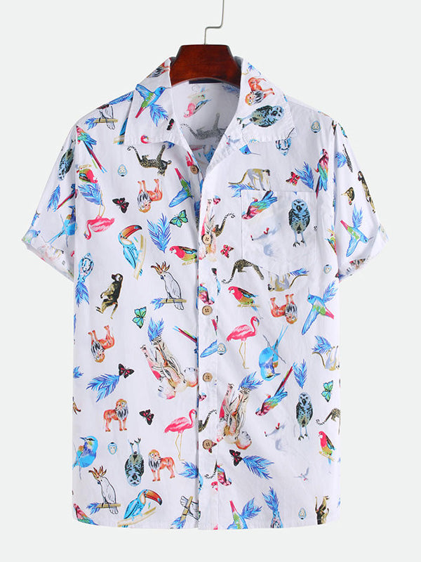 Men Printed Short Sleeves Shirt
