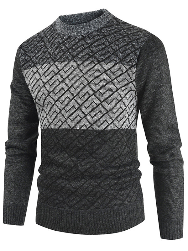 Men Pullover Casual Color Block Sweater