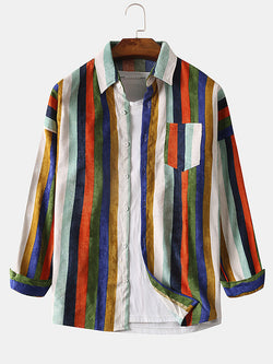 Men Color Stripe Corduroy Casual Long Sleeve Shirts