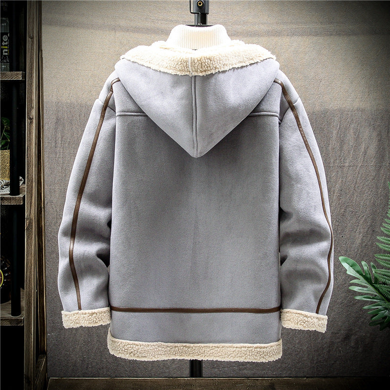 Men Thick Loose Hooded Zipper Coat