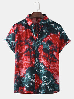 Mens Thin Breathable Gradient Printed Short Sleeve Shirt
