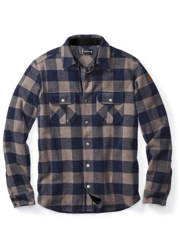 Men Lapel Plaid Casual Long Sleeve Shirt