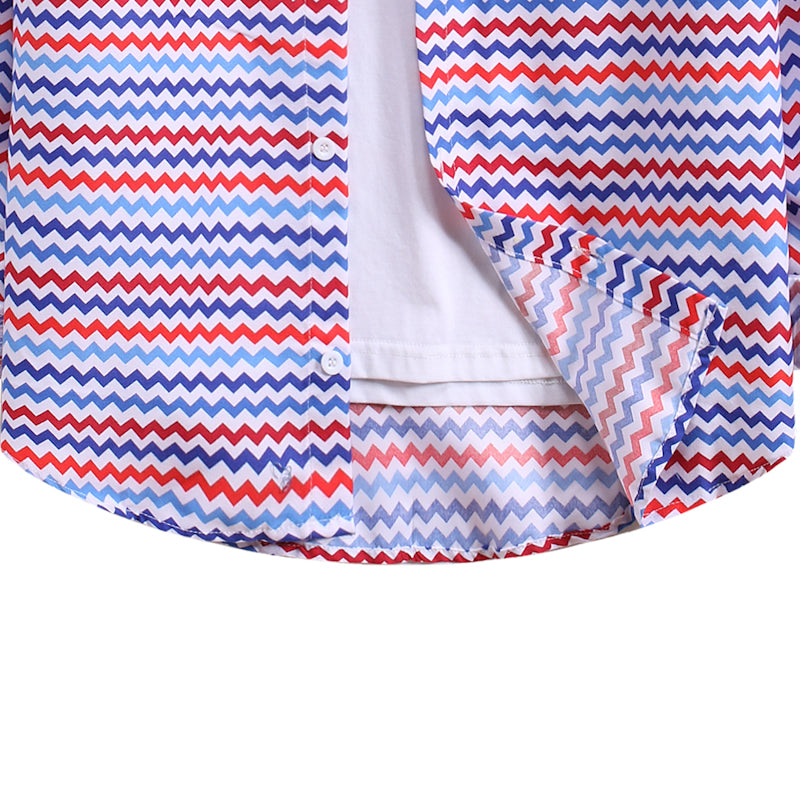 Men's Striped Long Sleeve Lapel Shirt