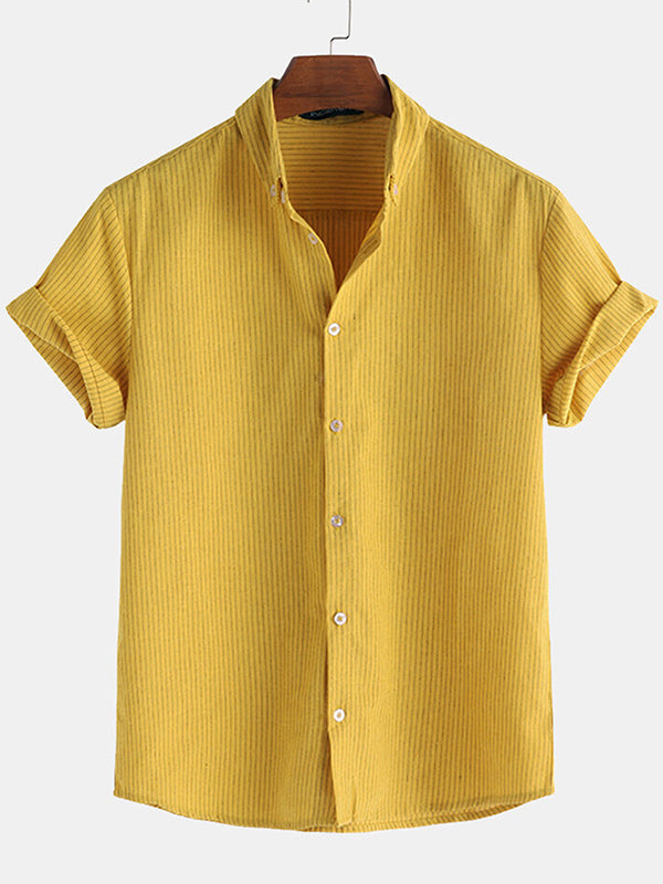 Men Casual Striped Shirt Short Sleeve