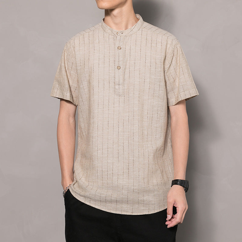 Men Hong Kong Stripe Short-Sleeve Shirt